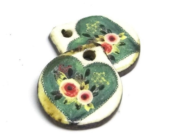Ceramic Heart Earring Charms Pair Beads Handmade Rustic