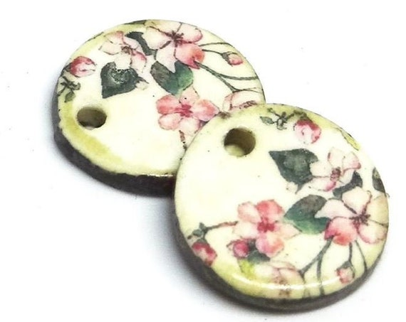 Ceramic Floral Flower Earring Charms Pair Beads Handmade Rustic
