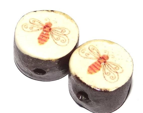 Ceramic Bug Bead Set Pair Inspirational Nature