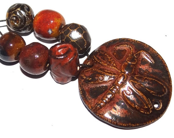 Ceramic Textured Bead Set & Bracelet Bar Porcelain Handmade Pottery Beads Rustic Rust Orange Brown Coral