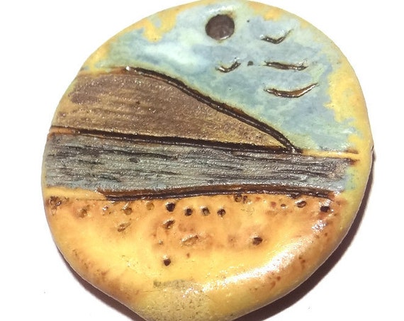 Ceramic Beach Landscape Cottage Pendant Rustic Stoneware Pottery Matte