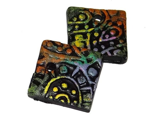 Ceramic Earring Charms Colourfully Rustic Textured Handmade Painted Paisley