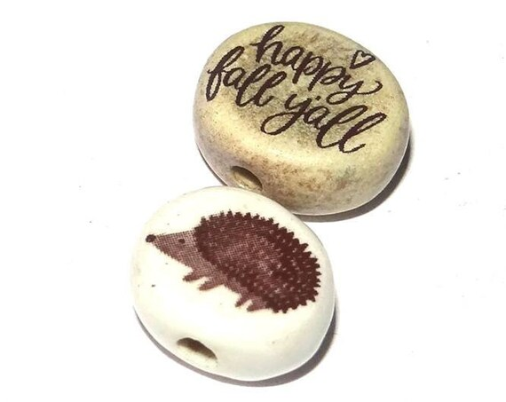 Ceramic Quote Bead Pair Set Porcelain Handmade Hedgehog Happy Fall