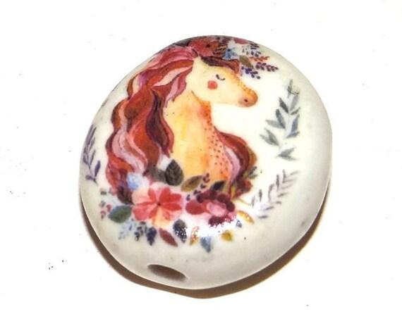 Large Ceramic Unicorn Focal Bead 30mm Porcelain