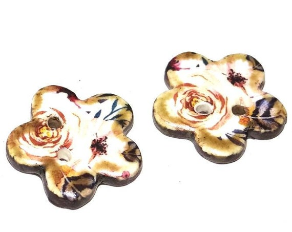 Unusual Floral Ceramic Earring Charms Button Pair Stoneware Pottery