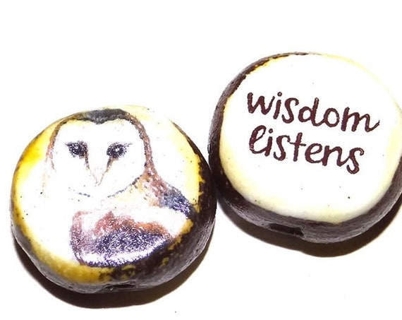 1 Ceramic Double Sided Quote Bead Porcelain Handmade Owl Wisdom
