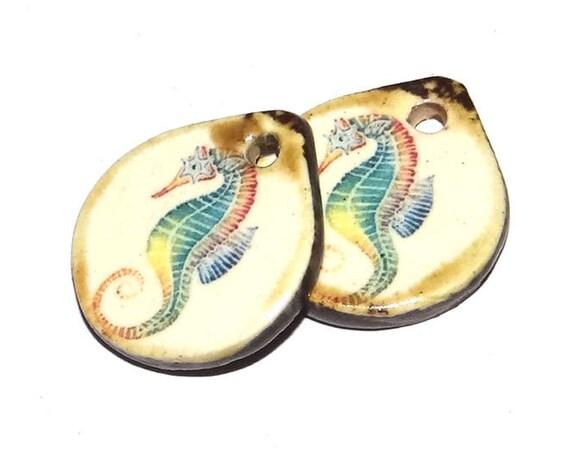 Ceramic Seahorse Charms Pair Porcelain