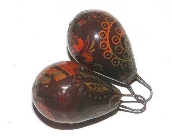 Ceramic Earring Dangle Drops Charms Pair Rustic Porcelain Pottery Paisley