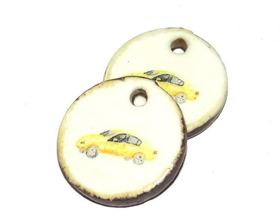 Ceramic Yellow Taxi New York Earring Charms Pair  Handmade Porcelain