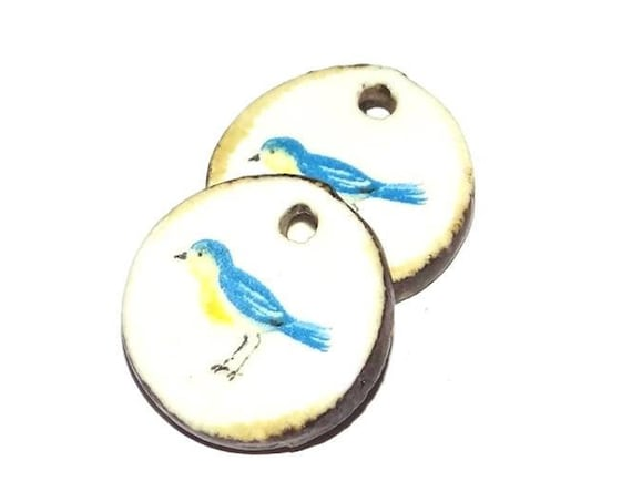Ceramic Bird Earring Charms Pair Handmade Porcelain