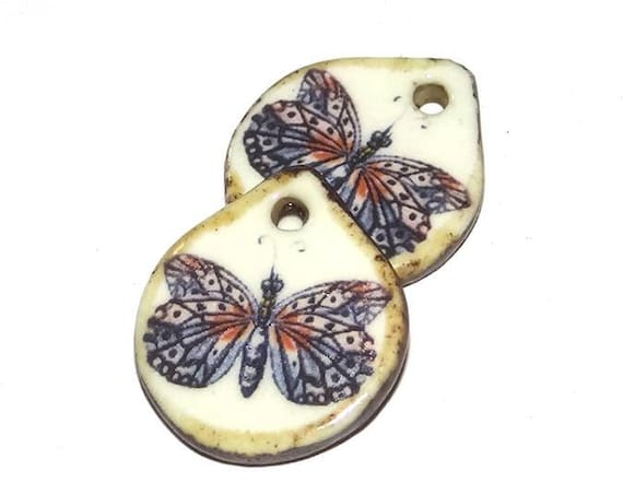 Ceramic Butterfly Earring Charms Pair Handmade Porcelain