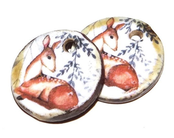 Ceramic Deer Earring Charms Pair Beads Handmade Rustic Wildlife Nature