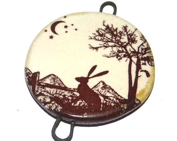 Ceramic Hare Moon Pendant Connector Handmade Porcelain