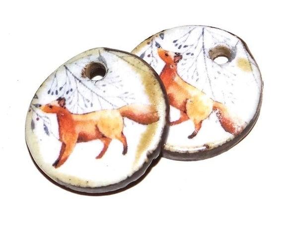 Ceramic Fox Earring Charms Pair Beads Handmade Rustic