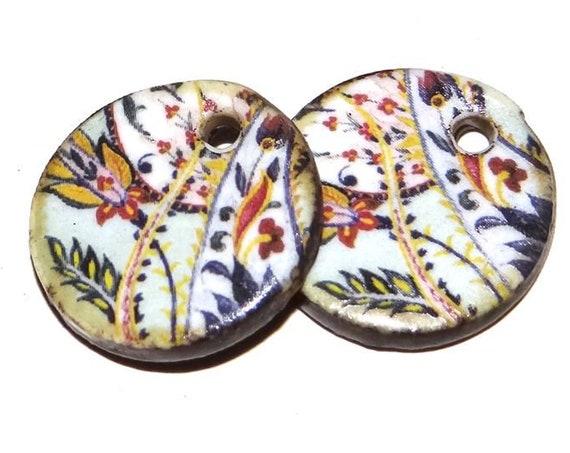 Ceramic Paisley Earring Charms Pair Beads Handmade Rustic