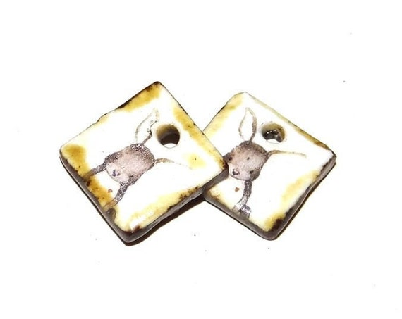 Ceramic Hare Earring Charms Pair Beads Handmade Rustic