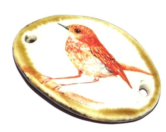 Ceramic Sparrow Bird Bracelet Bar Handmade Cuff Porcelain