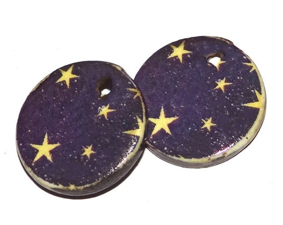 Ceramic Stars Night Sky Charms Pair Porcelain Handmade