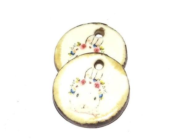 Ceramic Rabbit Earring Charms Pair Handmade