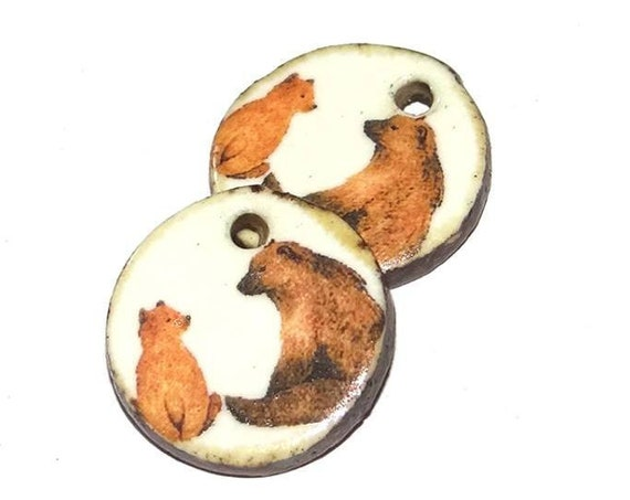 Ceramic Earring Charms Pair Handmade Porcelain Bears Mama