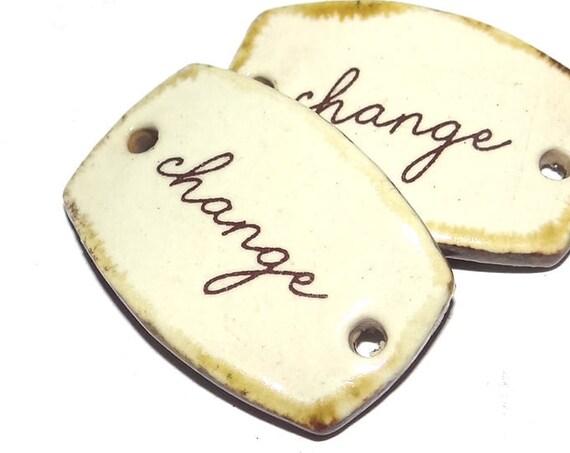 Ceramic Quote Bracelet Bar Handmade Cuff Porcelain Change
