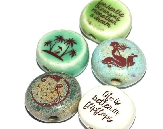 Ceramic Quote Bead Set Message Aspiration Beach Marine Inspirational Motivational
