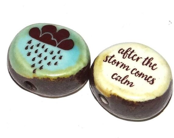 Ceramic Double Sided Focal Bead Quote Beach Storm Rain Clouds
