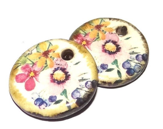 Ceramic Floral Charms Pair Porcelain Handmade