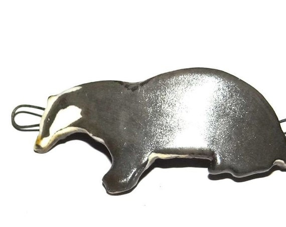 Ceramic Badger Bracelet Bar Cuff Handmade Focal