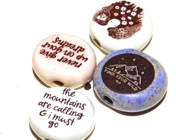 Ceramic Quote Bead Set Dreamer Message Aspiration Inspirational Wild Wanderlust