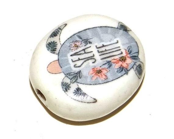 Ceramic Turtle Sea Focal Bead 30mm Porcelain Ocean Life Boho Beachy