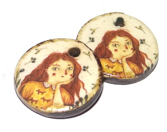 Ceramic Girl Charms Pair Porcelain