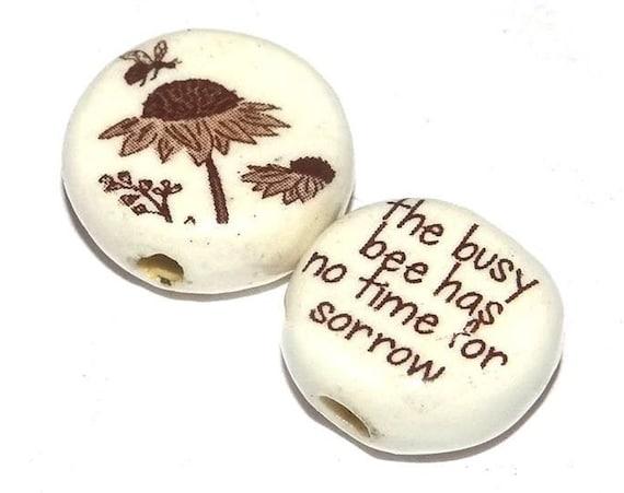 Ceramic Bumble Bee Quote Bead Set Quotes Inspirational Nature