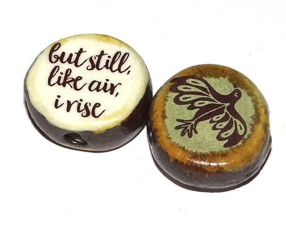 Ceramic Double Sided Focal Bead Quote Bird Freedom