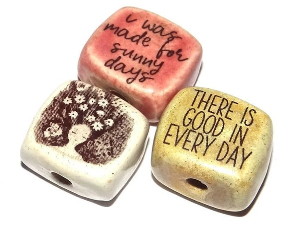 Ceramic Quote Word Bead Set Beads Handmade Inspiration Message Beads