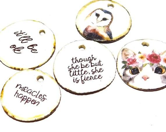 Ceramic Quote Charm Set Handmade Pottery Words Inspirational Word Beads Animals Birds