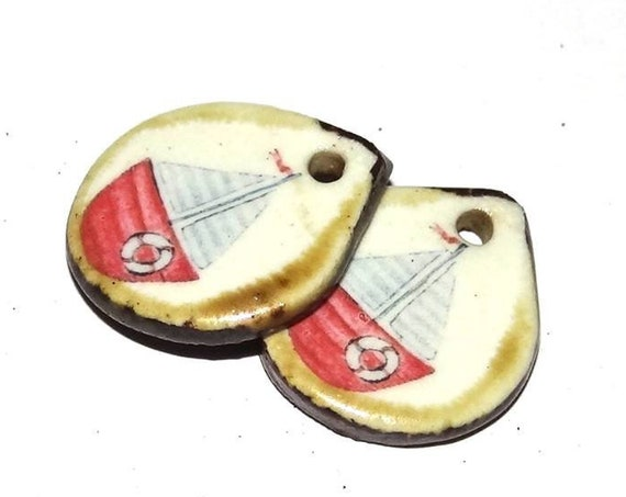 Ceramic Boat Earring Charms Pair Handmade Porcelain
