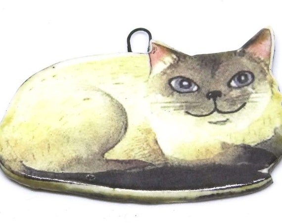 Ceramic Cat Pendant Handmade Focal