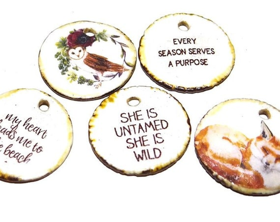 Ceramic Quote Charm Set Handmade Pottery Words Inspirational Word Beads Owl