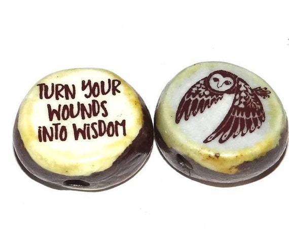 Ceramic Double Sided Focal Bead Quote Owl Wisdom