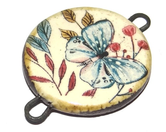 Ceramic Butterfly Pendant Connector Handmade Porcelain