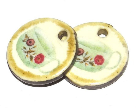 Ceramic Tea Coffee Cup Earring Charms Pair Handmade Porcelain