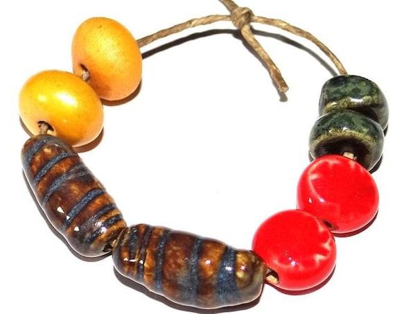 Ceramic Earring Bead Pairs Handmade Textured Pottery