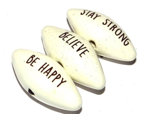 Ceramic Word Bead Set Pointy Beads Handmade Inspiration Message Beads