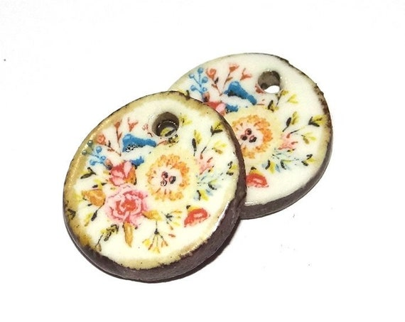 Ceramic Floral Flower Earring Charms Pair  Handmade Porcelain