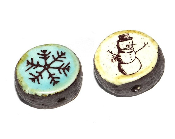Ceramic Double Sided Focal Bead Snowman Snowflake