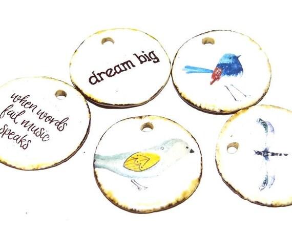 Ceramic Quote Charm Set Handmade Pottery Words Inspirational Word Beads Birds