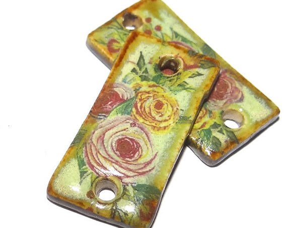 Ceramic Floral Earring Charms Porcelain Handmade Clay Earrings Pair Rose