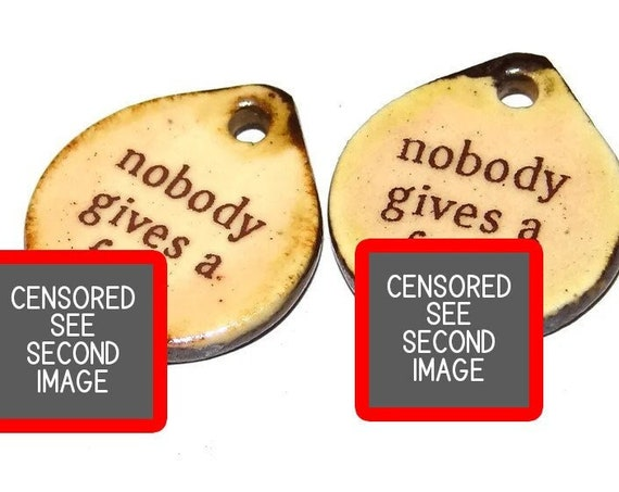 """Ceramic Quote Earring Charms Pair Beads Handmade Rustic 18mm/0.7"""" CC3-3"""