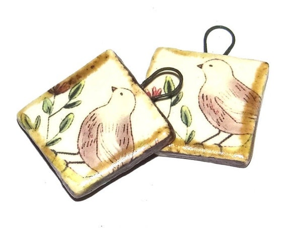Ceramic Birds Charms Pair Porcelain